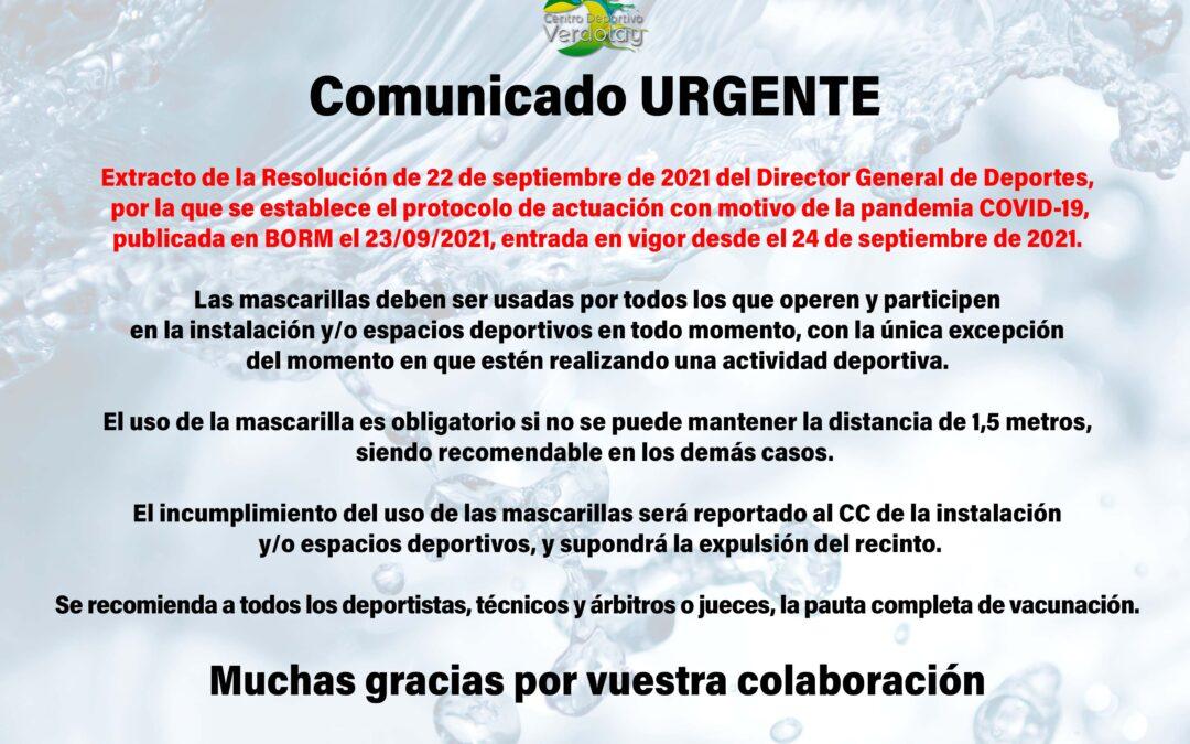 Nuevo comunicado Covid-19 sobre el uso de mascarillas en el Centro Deportivo