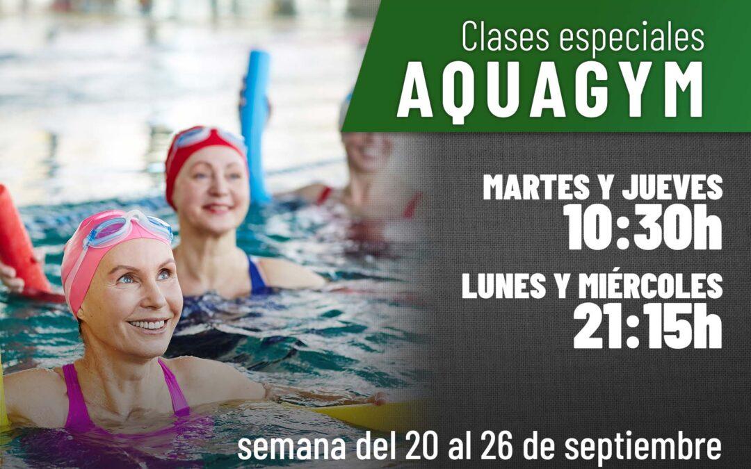 Clases especiales de Aquagym la semana del 20 al 26 de septiembre
