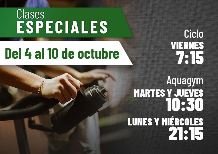 Clases especiales semana del 4 al 10 de octubre